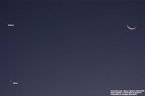 Conjunción Luna, Venus y Saturno 16/10/2009