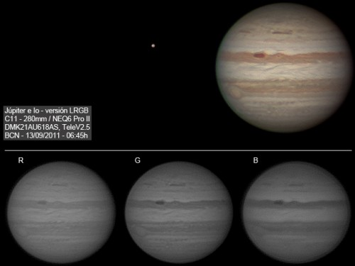 Júpiter 2011 - LRGB y tomas RGB por separado.
