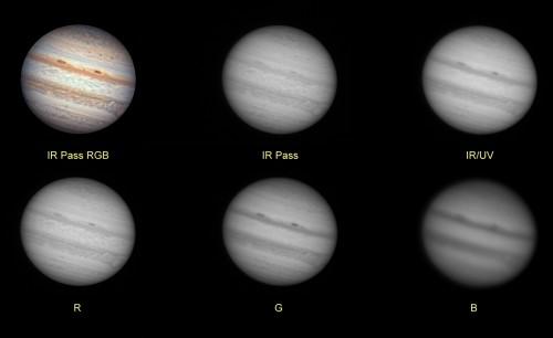 Jupiter: Canales LRGB, IR, IR/UV, RGB