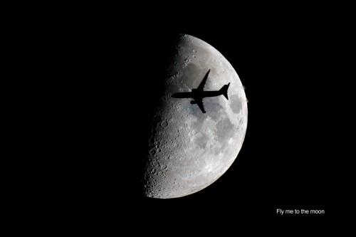 Tránsito de un avión sobre la Luna (Newton 254/1200)
