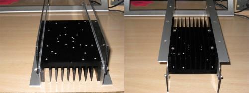 Detalle de los perfiles de aluminio fijados al radiador