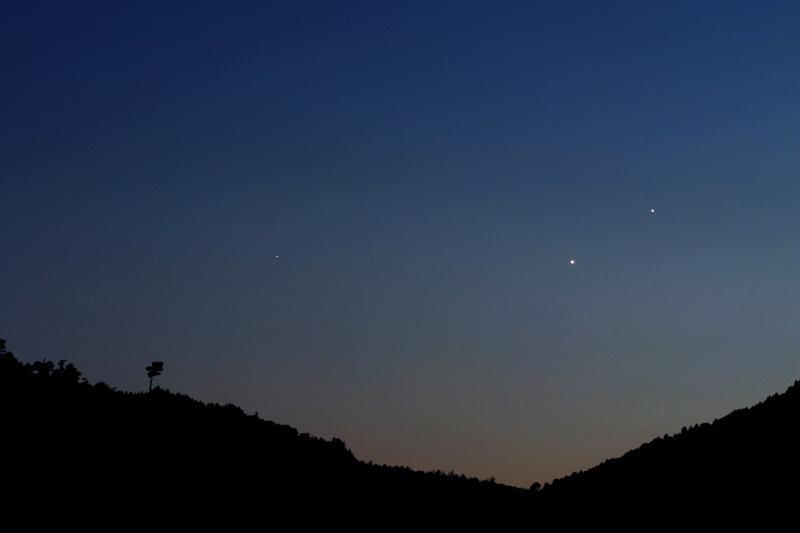 Conjunción Venus, Spica y Júpiter