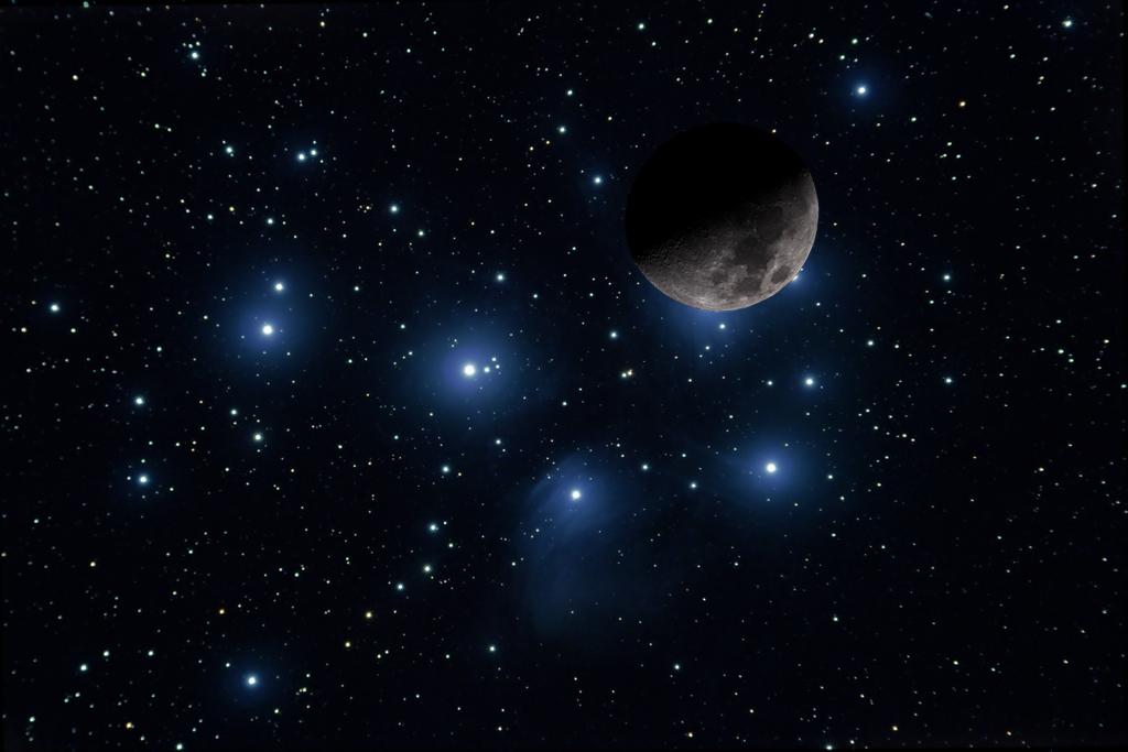 M45 Pléyades y la Luna