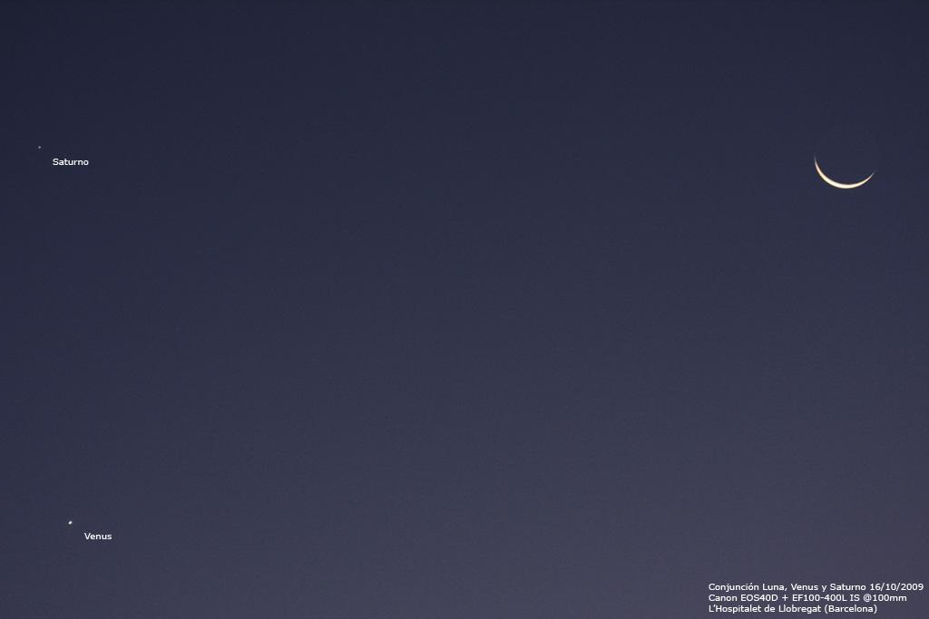 Conjunción Venus, Saturno y la Luna