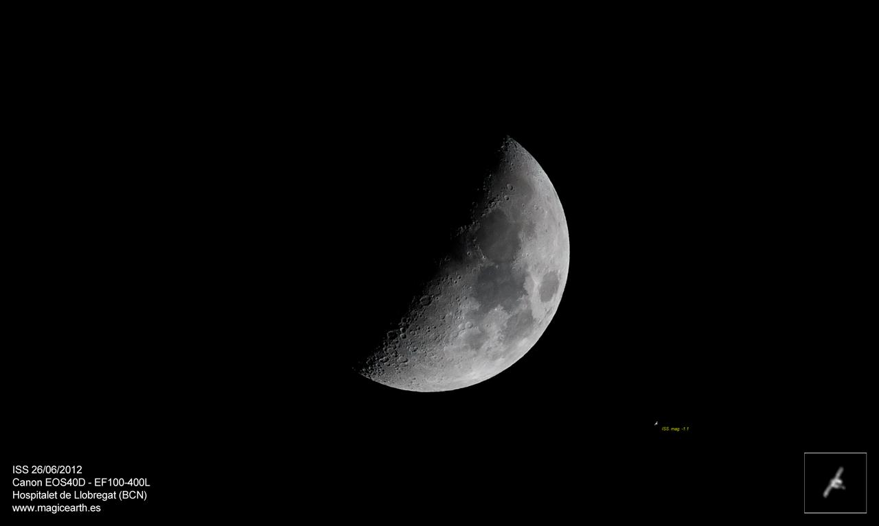 La Luna y la ISS con EF100-400L