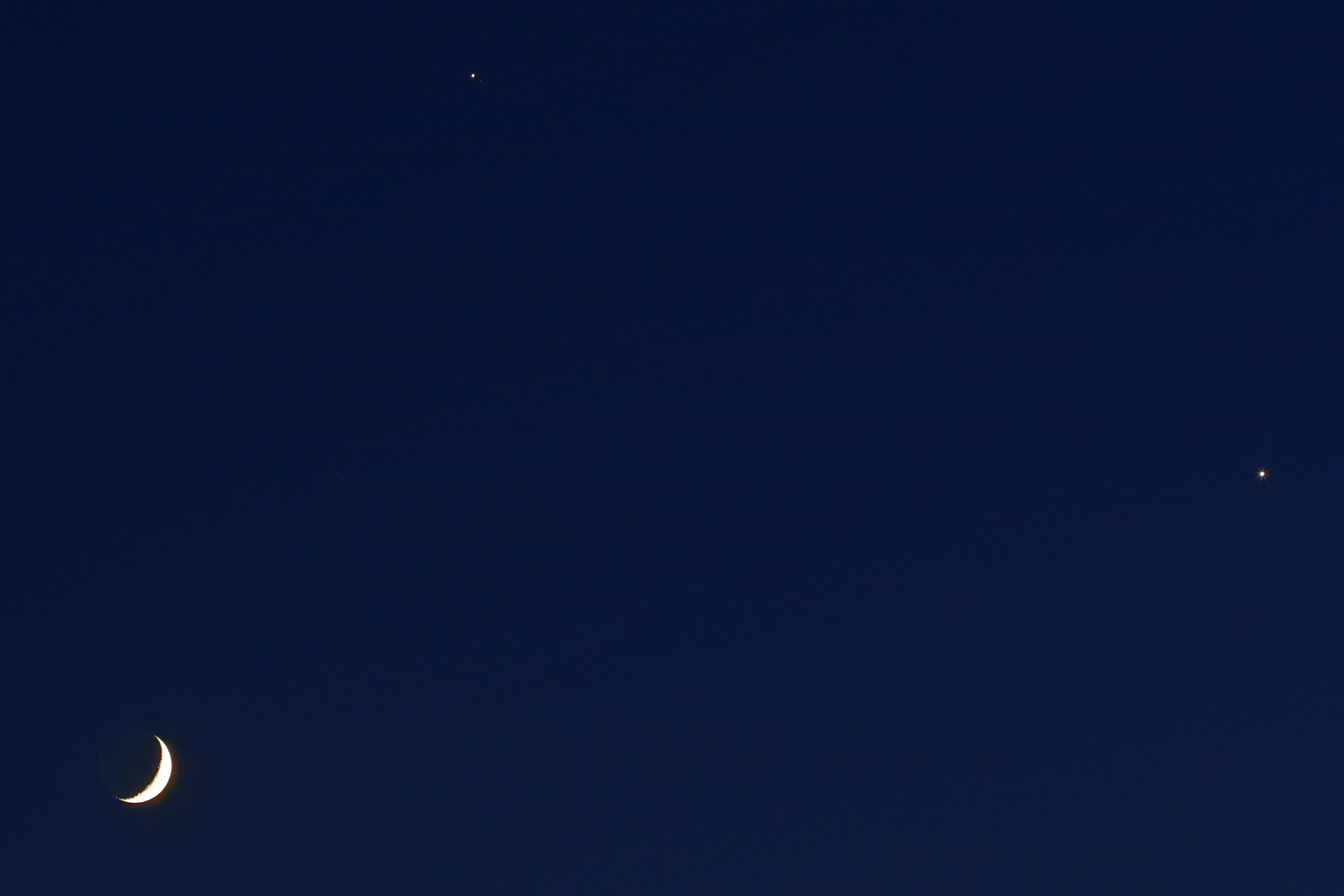 Conjunción Luna, Júpiter y Venus